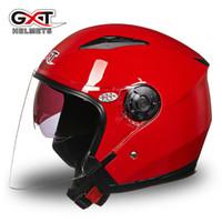 casco de doble cara de doble lente al por mayor-Open Face Summer Half Face Casco de motocicleta Casco de motocicleta Scooter GXT Moto Casco Lente dual 512