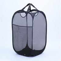 pop-up wäschekörbe großhandel-Strong Mesh Pop-up Wäschekorb Qualität Wäschekorb mit strapazierfähigen Griffen Solide Unterseite Kohlenstoffstahlrahmen Falten flach für die Lagerung