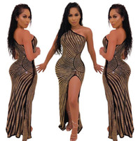 Wholesale mesh dress stripes for sale - Group buy hot women summer supre new stripes mesh see though hot drilling rhinestones one shoulder high side split party club maxi dress