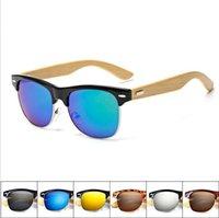 ahşap erkek bayan güneş gözlüğü toptan satış-Yeni Vintage Bambu Ahşap Güneş Erkekler Kadınlar Ahşap Gözlük Durumunda 7 Renk Unisex gözlük ile EEA177 50pcs