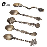 Wholesale tool sets china resale online - FHEAL set Vintage Royal Style Bronze Carved Small Coffee Tools Tableware Cutlery Kitchen Dining Bar Tools