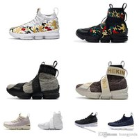 11b6c8e8675a9 Cheap Kith X Lebron 15 high tops basketball shoes lifestyle king floral  Triple Black Pure White Navy youth kids sneakers tennis with box