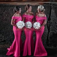 longo casamento noite vestidos de sereia venda por atacado-Modest Off Ombro Sereia Longo Da Dama De Honra Vestidos de Cetim Barato Vestido de Festa de Casamento Convidado Evening Evening Vestidos Formais Prom Dress