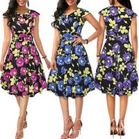 patrón de vestido azul marino al por mayor-Fairy2019 Pattern New Flower Print Match Belt Navy Lead A Word Falda Basis Dress