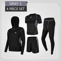 Wholesale running compression clothes resale online - Men s Tracksuit Sport Suit Set Gym Fitness Compression Clothing Running Jogging Sport Wear Exercise Workout Tights