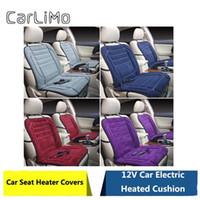 12v elektroauto heizung großhandel-CarLiMo 4 Color 12V Autositzbezüge Pad elektrisch beheizbare Sitze Auto Autositzkissen Hot Fur Sets Innenzubehör