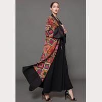 vestidos islámicos hijab al por mayor-Más el tamaño 5XL Abaya Dubai Impreso A cuadros Hijab vestido musulmán Qatar Emiratos Árabes Unidos Abayas Mujeres Jilbab Robe Musulmane Vestido Islámico turco