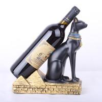 ingrosso artigianato decorativo di natale-Europa Dio egizio Cat Ornamenti cremagliera del vino Creativo supporto del vino Cucina di casa Bar Decor Accessori Resina Artigianato Regali di Natale