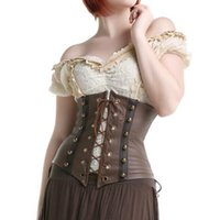 Wholesale sexy shaper for women resale online - 2017 Sexy Gothic Steampunk Faux Leather Corset Underbust Brown Body Shaper Corselet Bustier Corsage Lace Front For Women S XXL