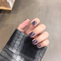 Wholesale purple nails resale online - Nail Art Pces Dark Purple Cat Eye Fake Piece False Acrylic Nail Tips Extension Finger Tools Manicure