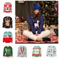 Wholesale snowflake clothing online - Christmas D Printed Sweatshirts Styles Elk Snowflake Printed Jumper Pullovers Women Girl Tops Outwear Home Clothing OOA5976