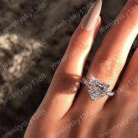 elmas şekilli kristaller toptan satış-Zirkon Kalp Yüzük Kalp Şekli Elmas Yüzük Kristal Nişan Alyans Kadınlar Yeni Tasarım Moda Takı Hediye