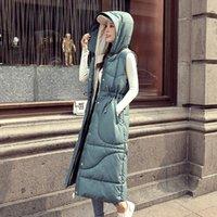 casacos de mulheres de moda de inverno coreano venda por atacado-YASUGUOJI coreano Moda colete preto para Brasão Mulheres Winter mangas casacos e jaquetas com capuz acolchoado Mulheres Long Vest