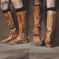 Wholesale vintage booties resale online - Botas Mujer Women Boots Knee High Pu Leather Vintage Flats Shoes Ladies Cross Tied Riding Long Boots Plus Size Booties Chaussure