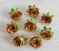 ingrosso decorazioni di bordi-Golden Rose Bud Simulated Rose All'ingrosso Cross-border specializzato per Silk Rose Head Wedding Decoration Flower W011