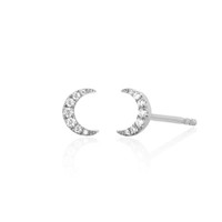 ingrosso orecchini di rocchetto punk rovesciati-orecchini a bottone a forma di mini mini cz in argento sterling 925 semplici e delicati