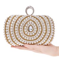 Discount ladies diamond finger rings Designer-New Arrival Women Evening Bags Finger Rings Diamonds Wedding Lady Handbags Chain Shoulder Day Clutches Purse Beaded Evening Bag