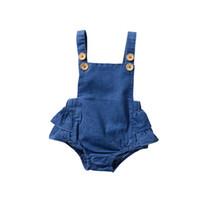 monos de mezclilla para niños al por mayor-New Spring Baby Girls Romper Kids Toddler Denim Ruffle mono de una sola pieza Fashion Toddler Onesies