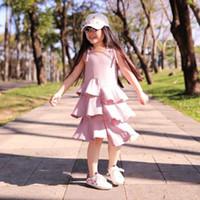 gestufte hosenträgerkleider großhandel-Kinder Sommerkleider Baby Mädchen Unregelmäßige Rüschen Kleid 2019 Sommer Kinder Tiered Hosenträger Kleid Mode Prinzessin Strap Kleider