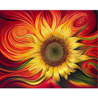 Wholesale diy painting digital canvas art for sale - Group buy sunflower sun flowers Flower DIY Digital Painting By Numbers Modern Wall Art Canvas Painting Unique Gift Home Decor x50cm