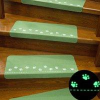 ingrosso tappeto verde chiaro-Dark Glowing Home Scale Tappetini antiscivolo Zerbino Orma Motivo Tappeto Tappeto notte luce Tappeto di sicurezza per bambini Tappeto Home Decor