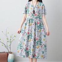 frauen leinen kleid xl größe großhandel-Sommerkleid Frauen Sommer Damen Casual Bequem Lose Plus Size Kurzarm Baumwolle Leinen Blumenkleid Bohemian Elegantes Kleid