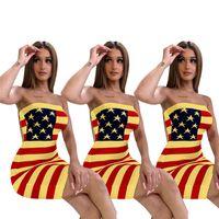 bayrak seksi elbiseleri toptan satış-Yıldız ABD Bayrağı bodycon bandaj elbiseler 2019 tasarımcı elbise Seksi Straplez Çizgili Tüp Etek Wrap bodycon elbiseler gece kulübü elbiseler C71202