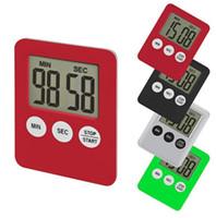 pişirme sayaçları saatleri toptan satış-LED Dijital Mutfak Zamanlayıcı 7 Renk Pişirme Saymak Geri Sayım Saati Mıknatıs Alarm Elektronik Pişirme Araçları OOA6532