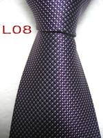 ingrosso legami color lavanda-Classica 100% JACQUARD WOVEN FATTA A MANO Design da uomo Perfect Sky b / nero / blu / viola / lavanda Cravatta in seta multi color da uomo L01-L16