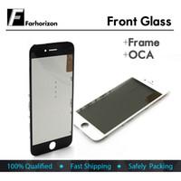 cadres iphone 5s achat en gros de-Lentille extérieure en verre à écran tactile avant pour cadre iphone OCA pour pièce de réparation de remplacement pour iphone 5 5s 5c