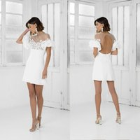 Wholesale blue ruffled sheath dress resale online - Cocktail Dresses Short Sleeves Sheath White Poet Lace Appliques Prom Dresses Party Dress Plus Size Formal Homecoming Gowns