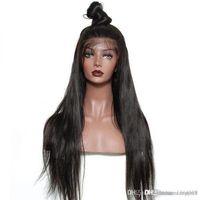pelucas de encaje beyonce peinados al por mayor-Las pelucas de pelo indio de Remy del pelo humano del frente de la Mujer de pelo peluca con rayita natural completa Fin + net peluca