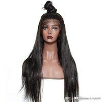 hint kadınları için doğal saç perukları toptan satış-Remy Saç Hint Ön İnsan Saç Peruk Kadınlar için Saç Düz Peruk Doğal Saç Çizgisi ile Tam End + peruk ile net