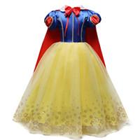 roupas extravagantes para meninas venda por atacado-4-10 Anos Fantasia Cosplay Princesa Branca de Neve Traje Meninas Vestido Para o Feriado do Dia Das Bruxas Vestido de Role-play Kid Roupas Menina J190505