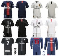 kits cortos de jersey juvenil al por mayor-Niños PSG Youth VERRATTI Jersey Soccer Paris Saint Germain Set con Short BUFFON TRAPP DRAXLER DANI ALVES Camiseta de fútbol Kit Niños