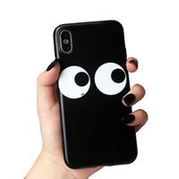 große augen telefonieren großhandel-Persönlichkeit cartoon telefon case für iphone 8 x 6 7 plus große augen weichen silikon kreative zurück