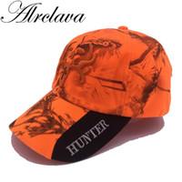 оранжевая шляпа для охоты оптовых-Новый Открытый камуфляж Cap Fluorescent Орангутану Охота Hat Blaze Orange Camo Cap с 3D логотипом Baseball