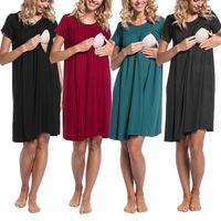 Wholesale multi button dress for sale - Group buy Pregnant Lactation Feeding Nursing Dress Pure Colors Short Sleeve Loose Cotton Feeding Pregnant Women Summer Dress Clothing