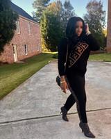 ingrosso black two piece outfits-Completo da lettera a due pezzi con stampa invernale Donna o collo a manica lunga con scollo a V e pantaloni con elastico in vita 3XL
