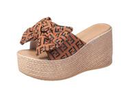 sandales à talons hauts achat en gros de-Pantoufles compensées à plateforme Chaussures à talons hauts Femmes Chaussures pour femmes en liège Liège Papillon-Nœud Compensées Slipper Flip Flop Sandals