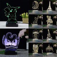 ingrosso ha portato le luci decorative-Lampada a LED 3D Lampada da notte a LED creativa 3D Novità Lampada da notte a illusione Lampada da tavolo a illusione 3D per la decorazione domestica