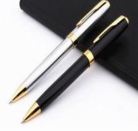 ingrosso penne baoer-di alta qualità di lusso Baoer 388 nero per l'acciaio inossidabile scuola ufficio Affari forniture Penna a sfera d'oro Nuovo clip