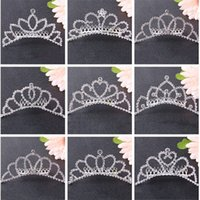 Wholesale crown clip hair baby resale online - Baby girls princess Crown Princess combs Mini Twinkle Rhinestone Diamante Crown Hair Comb Hair Clip Tiara for Party Wedding C5682