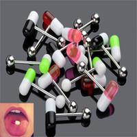 barra de labios al por mayor-Colores mezclados Acero inoxidable 316L Píldora Cápsula Lengua Pin Nipple Bar Anillo Barbell Body Piercing Joyas Mujeres Hombres Labio Piercing
