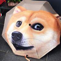 gatos guarda-chuva venda por atacado-Animal Dos Desenhos Animados 3D Padrão Guarda-chuvas Gato Cão Impressão Três-folding Guarda-chuva Automático Anti UV Guarda-sóis à prova de Chuva para Viagens Ao Ar Livre