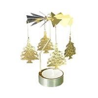 döner tezgahlar toptan satış-Sıcak İplik Döner Metal Carousel Çay Işık Mumluk Işık Noel Hediye Candelabros DECORATIVOS De Velas Candelabra Standı