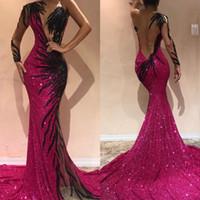 elbiseler için bir boyut toptan satış-Artı Boyutu 2019 Muhteşem Fuşya Mermaid Abiye Aç Geri Payetli Bir Omuz Akşam Balo Abiye Arapça Pageant Ünlü Elbise