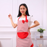 Wholesale cute aprons pockets resale online - Hot Selling cooking BowKnot Aprons Fashion Hot Delicate lovely lady Kitchen Restaurant Cute Cooking Aprons Pocket Women TTA44