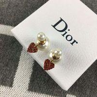 Wholesale copper clip earring resale online - 2019 high quality brand designer earrings brass earrings red heart with pearl for women fashion earings jewelry