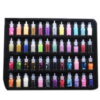 nail art perle aufkleber großhandel-48 flaschen / set shinning zubehör pailletten nail art glitter multifunktionale mischfarbe perle diy aufkleber dekoration